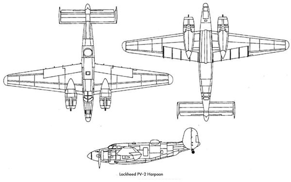 PV-2 Harpoon 3 view drawing