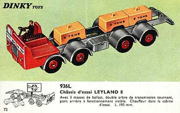 catalogue dinky toys 1966 p72 chassis d'essai leyland 8