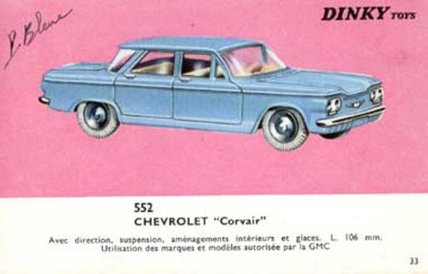 catalogue dinky toys 1966 p33 chevrolet corvair