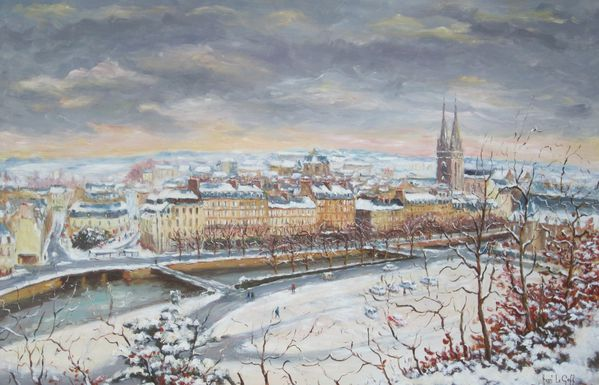 quimper sous la neige huile sur toile henri le goff artiste peintre peintre breton. Black Bedroom Furniture Sets. Home Design Ideas