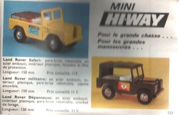 catalogue dinky toys 1968 p123 mini hiway land rover safari