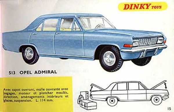 catalogue dinky toys 1967 p15 opel admiral