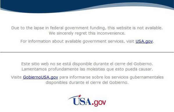 Federal Government Shudown - NASA - Octobre 2013