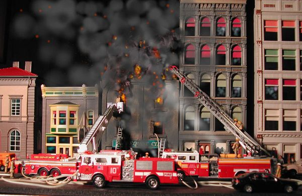 diorama incendie
