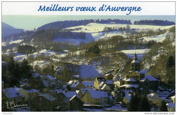 carte postale orcival neige