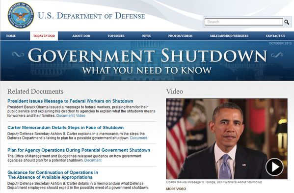 Federal Government Shudown - DOD - Octobre 2013