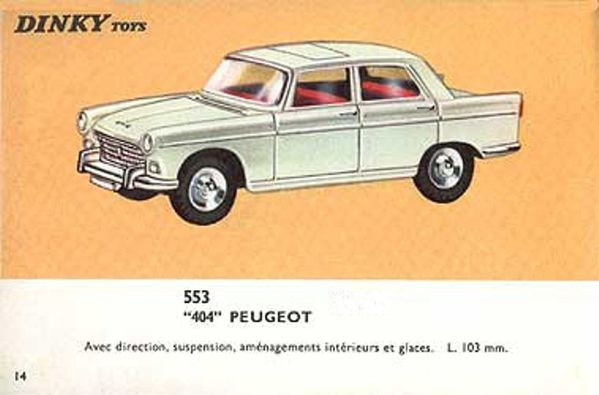 catalogue dinky toys 1966 p14 peugeot 404