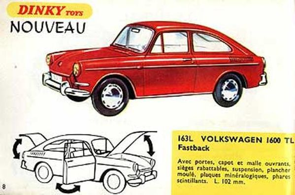 catalogue dinky toys 1967 p08 volkswagen 1600 tl fastback
