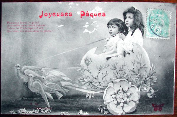 1906 - Joyeuses Pques oeuf, colombes et enfants