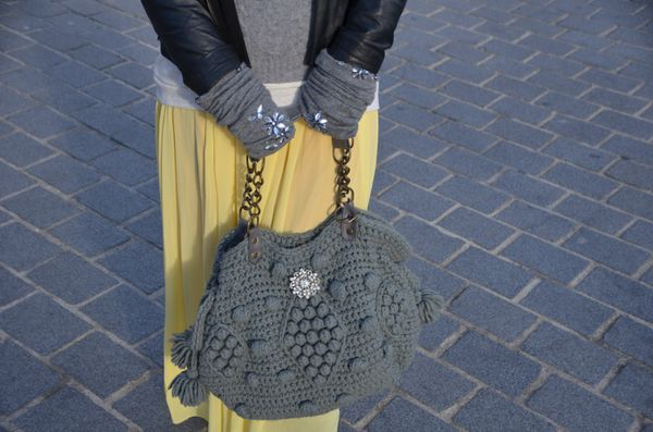 sac crochet gris darel