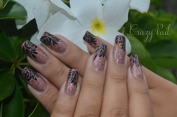 rose holographique-nails papillons (5)