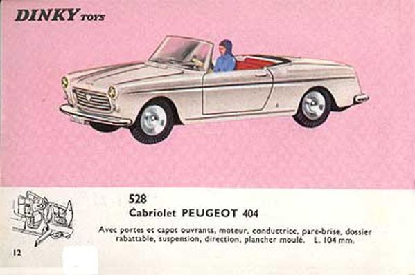 catalogue dinky toys 1966 p12 cabriolet peugeot 404