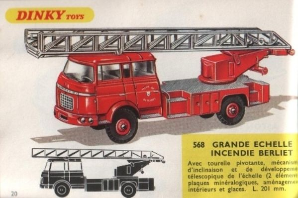 catalogue dinky toys 1968 p020 grande echelle incendie berl