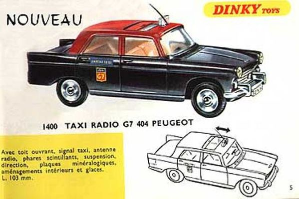 catalogue dinky toys 1967 p05 peugeot 404 taxi radio g7