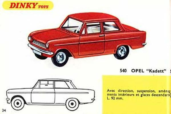 catalogue dinky toys 1967 p34 opel kadett