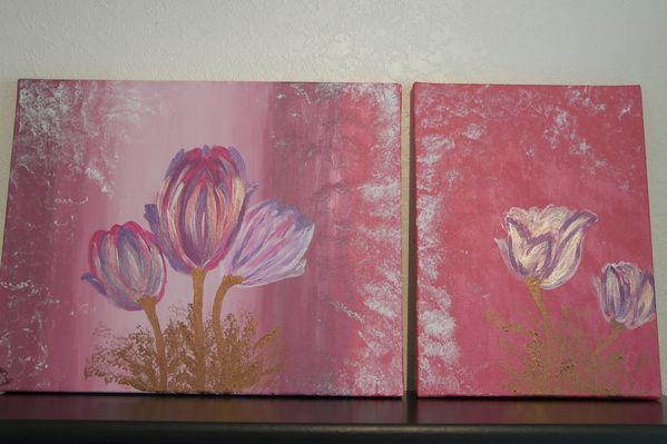 tableaux tulipes roses