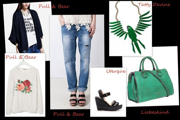Look jean boyfriend Pull & Bear - collier perroquet Tatty