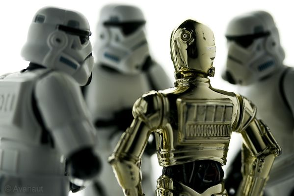 C-3PO Meets the Stormtroopers