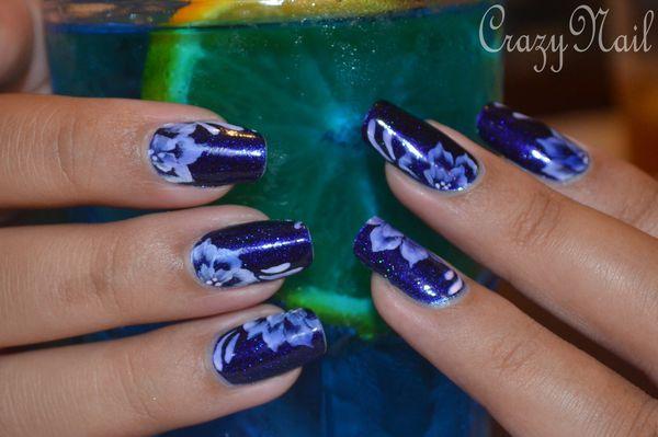 nail art fleur bleu lagoon (3)