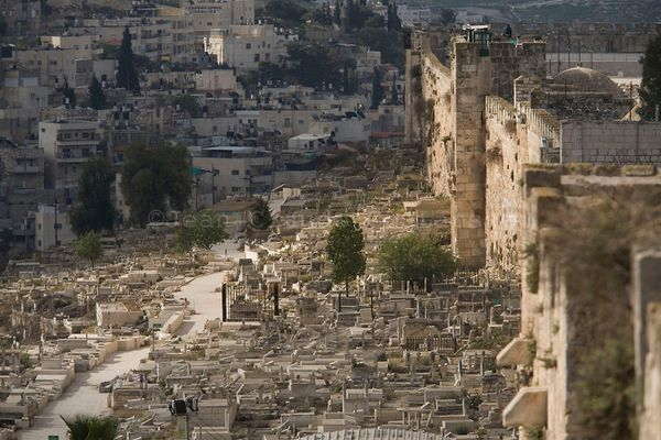 East Jerusalem, Old City . The Golden Gate and a muslim cemetery