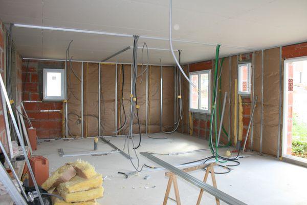 mise en place de la laine de verre avant les plaques le blog de frederic. Black Bedroom Furniture Sets. Home Design Ideas