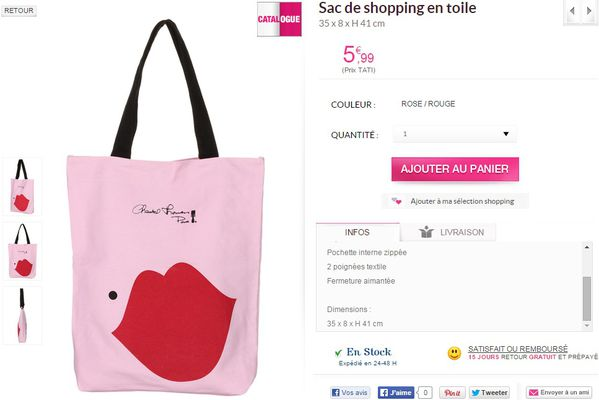 SAC SHOPPING TOILE ROSE ROUGE TATI