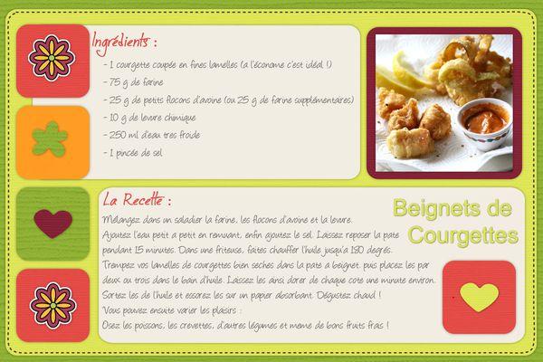 Fiche recette beignets de courgettes
