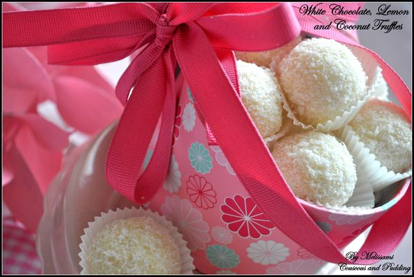 white chocolate, lemon and coconut truffles