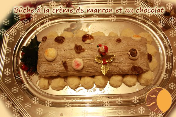 Bûche à la crème de marron et au chocolat