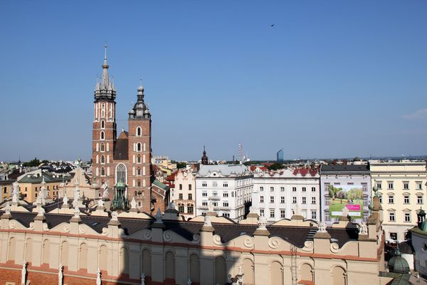 Photo du centre ville de Cracovie et rynek vue d'ensemble