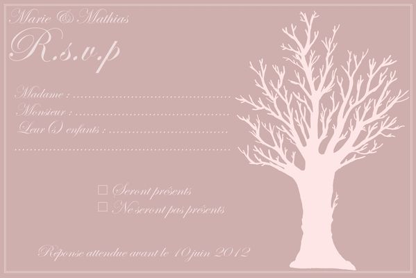 RSVP Faire part arbre assortit a l'arbre a signatures