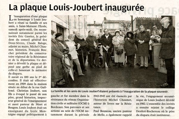 Plaque Louis Joubert