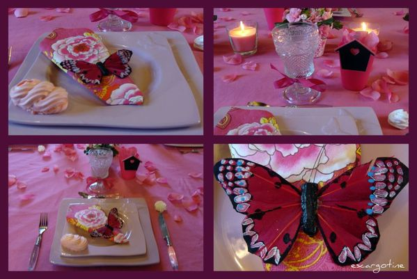 collage papillons roses