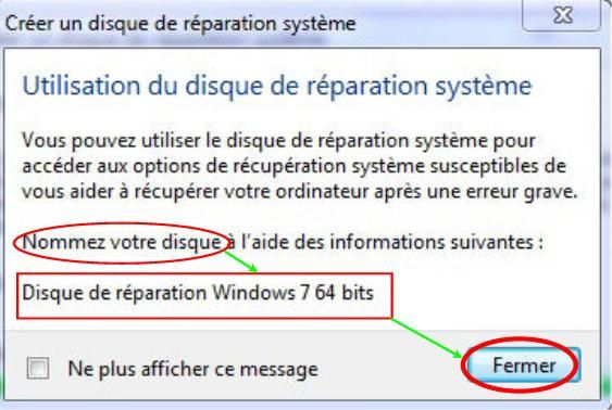 Cr er un disque de r paration syst me sous windows 7 le for Ouvrir fenetre dos windows 7
