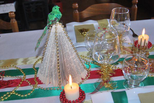 Table de no l rouge vert et or le blog de for Centre de table maison