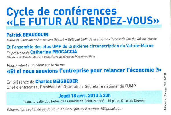 Invitation conference Saint Mande 18 avril