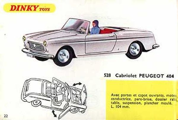 catalogue dinky toys 1967 p22 cabriolet peugeot 404