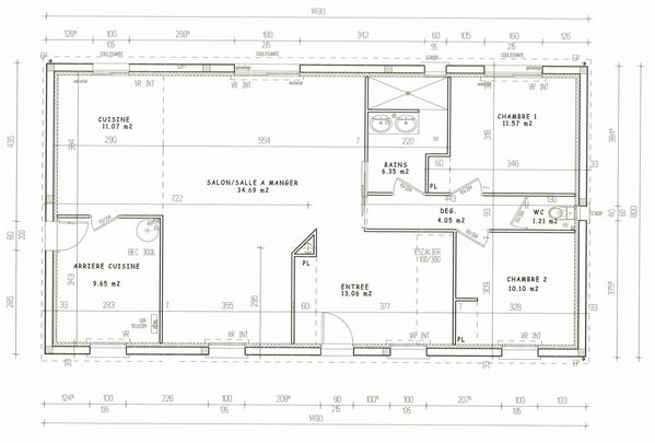 Plan de maison interieur top plan de maison de plainpied - Plan interieur de maison ...
