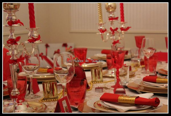 Decoration de noel rouge et or - Table de noel rouge et or ...