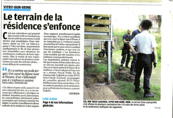 article le terrain s-enfonce