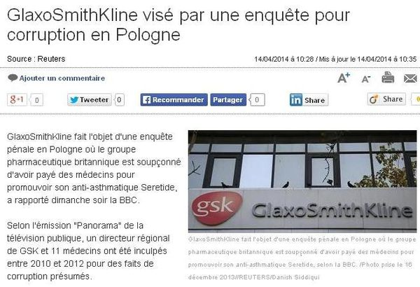 GSK, corruption Pologne