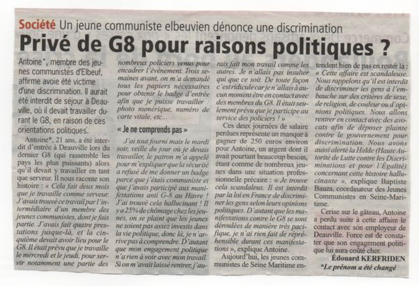 interdit d'anti G8 car communiste