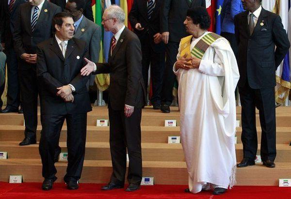 Le belge Herman Van Rompuy, le Président Ben Ali et le Colonel Mouammar Kadhafi