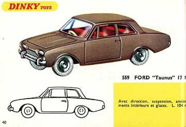 catalogue dinky toys 1967 p40 ford taunus 17m