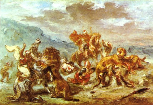 delacroix aquarelle chasse au lion