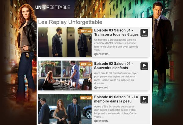 revoir unforgettable en streaming sur tf1 replay saison 1 videostream replay tv en streaming. Black Bedroom Furniture Sets. Home Design Ideas