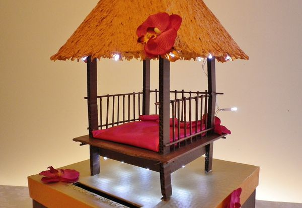Decoration of marriage ballot box palapa theme the for Decoration urne