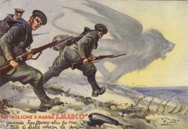 Italie cartolina rgt san marco anni 30