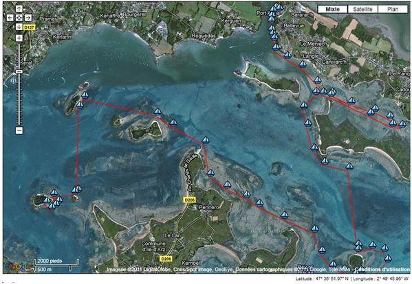 Golfe Morbihan carte jour 1
