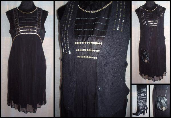 Tenue de fêtes n°3 robe noire Kookaï gilet Kookaï sac M